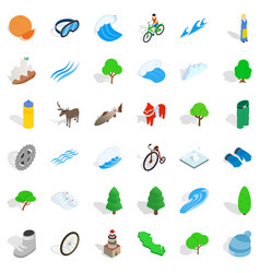 hiking in nature icons set isometric style vector image
