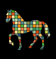 Horse farm mammal color silhouette animal vector