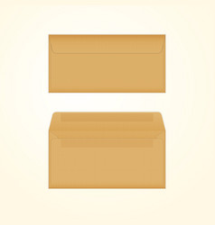 Isolated opened and closed brown envelopes vector