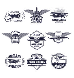 labels at aircrafts theme monochrome vector image