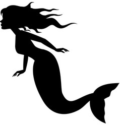 mermaid silhouette swimming vector image