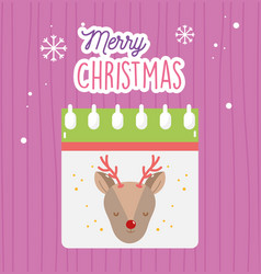 merry christmas celebration calendar with deer vector image