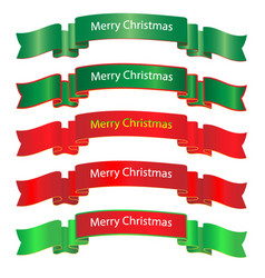 merry christmas ribbon on white background vector image
