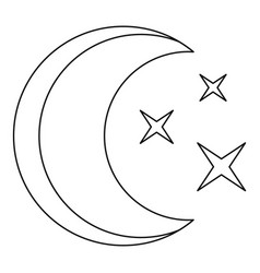 moon icon outline style vector image