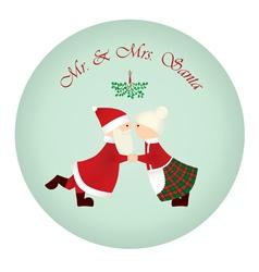 Mr mrs santa under the mistletoe vector
