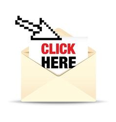 open envelope click here vector image