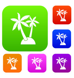 palm trees set collection vector image