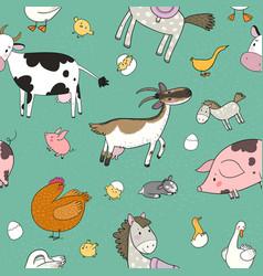 Pattern with farm animals cute cartoon horse cow vector