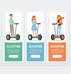 people riding on electric gyroscope scooter vector image