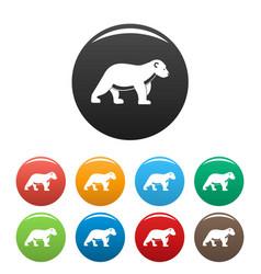 polar bear kid icons set color vector image