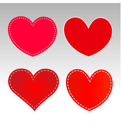 Red hearts icons sign symbol set vector