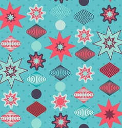 Retro christmas decorations seamless pattern vector image