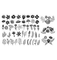 scandinavian flower elements scandi style doodle vector image