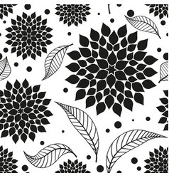 Seamless monochrome pattern with black flowers vector