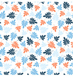 seamless orange and blue jungle leaves print vector image