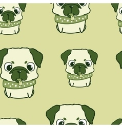 Seamless pattern with pug puppies Colorful vector