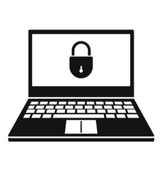 secured laptop icon simple style vector image