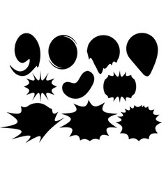 set circles with black ink splashes design element vector image