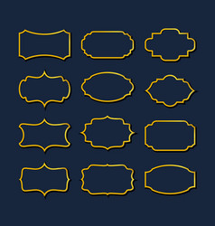 Set gold vintage blank frames and borders vector