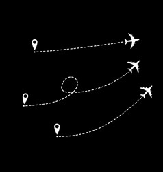 Set icons airplane line path route aircraft lines vector