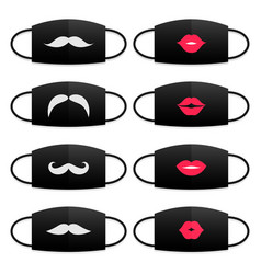 Set medical masks with lips and mustache print vector