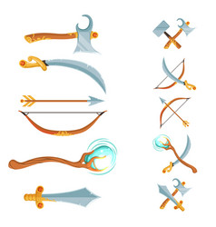 set of fantasy cartoon game design crossed vector image