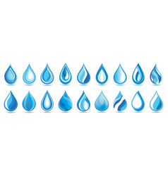 set stylized blue water drops over white vector image
