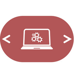 Setting parameters laptop icon flat design style vector