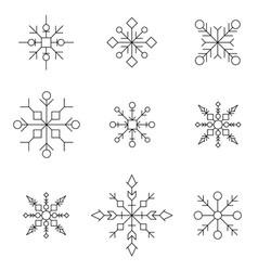 snowflake icon set white silhouette snow flakes vector image