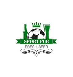 soccer sports beer pub live game icon vector image