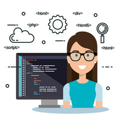 Software language programmer avatar vector