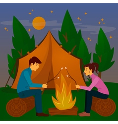 Summer Camp Man and Woman sitting by Fireplace vector