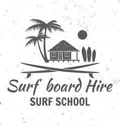 Surf board hire concept Summer surfing retro badge vector