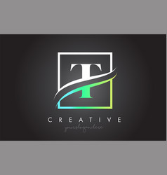 T letter logo design with square swoosh border vector