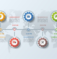 Timeline infographic template with gears 5 steps vector
