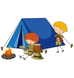 two boys camping out vector image