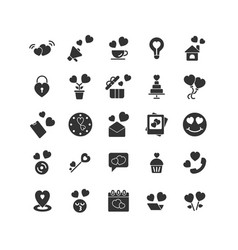 Valentines day solid icon set vector