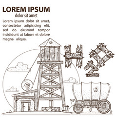 Wild west water tower and covered wagon farming vector