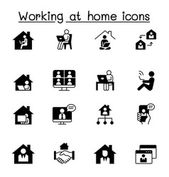 Working at home icons set graphic design vector