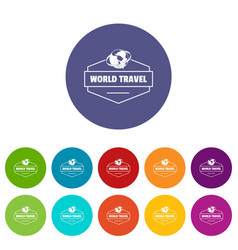 world travel icons set color vector image