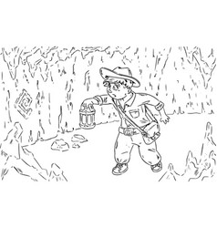 Young adventurer looking for treasure comic style vector