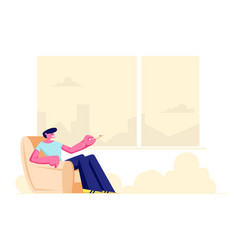 young man sitting in comfortable armchair at home vector image