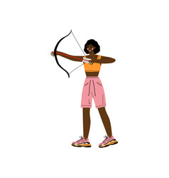 young woman with bow and arrow african american vector image