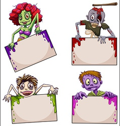 Zombies with empty signboards vector image