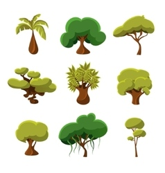 Cartoon Trees Leaves and Bushes Set vector image vector image