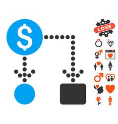 cashflow icon with love bonus vector image