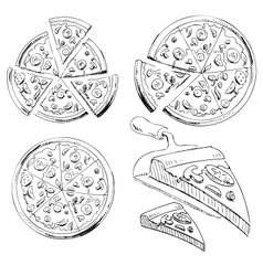 Collection of sliced pizza vector image