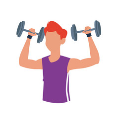 fitness man dumbbell body gym vector image vector image