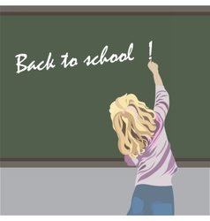 Little girl writing on a school board vector image