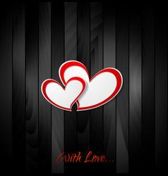 Valentine hearts on black wooden texture vector image